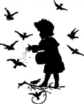 girl,feeding,bird,animal,child,silhouette,media,clip art,externalsource,public domain,image,png,svg