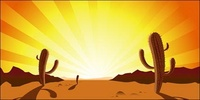 cactus,sunset,desert,sunrise,torn,green,sun,ray,yellow,sand,heat,landscape,illustration,design
