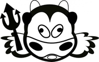 evil,cow,cartoon,animal,face,outline,media,clip art,public domain,image,png,svg