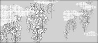 line,drawing,flower,cherry,blossom,cloud,gilded,lattice