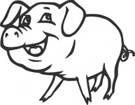 smiling,remix problem,animal,pig,cartoon,mammal,farm,line art,contour,outline