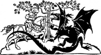 george,dragon,knight,tree,battle,fight,media,clip art,externalsource,public domain,image,png,svg