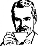morning,cup,man,coffee,tea,drink,black & white,contour,outline