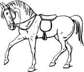 walking,horse,outline,animal,mammal,line art,contour,coloring book,black & white