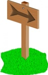 sign,post,sign post,direction,wood,grass,cartoon,media,clip art,public domain,image,png,svg
