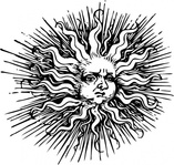 sad,ornate,sun,space,weather,black & white,contour,outline