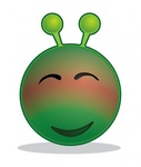 smiley,green,alien