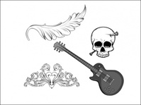 vintage,mega,sample,skull,guitar,flower,floral,foliage,designious,wing,flourish