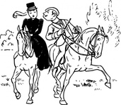 couple,riding,horse,rider,love,kiss,joke,black & white,contour,outline