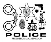 police,collection,sheriff,gun,badge,fingerprint,sample,handcuff