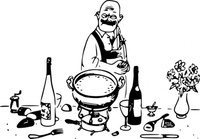 grumpy,chef,messy,table,fondue,untidy,work,kitchen,waiter,wine,media,clip art,externalsource,public domain,image,svg