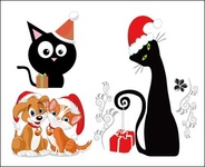 dog,cat,christmas,vector
