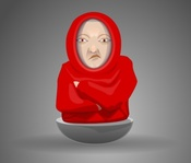 grumpy,face,wearing,hood,puppet,media,clip art,public domain,image,svg