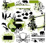 vector pack,animal,miscellaneous,figure,dolphin,giraffe,leaf,fish,vector,figure,leaf,figure,leaf