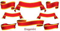 banner,red,ribbon,set,classy