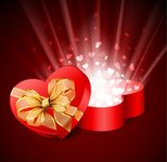 background,box,gift,greeting card,happy,heart,illustration,love,red,ribbon,season,shiny,valentine