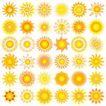 collection,set,sun,sun flower,symbol,yellow