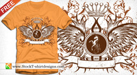 winged shield,free t shirt design,wing,crown,banner,horse,floral,shield,heraldry