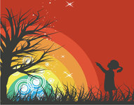people,girl,tree,rainbow,red,sillhouette,rainbow,rainbow