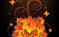 background,blooming,flower,swirl,butterfly,nature,illustration