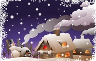 snowman,froze,winter,snow,snowflake,house,chimney,smoke,tree,pine,night,star,cold,light,illustration,background,eve,christmas,season