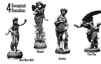 bearded,blindfold,faries,mischief,pedestal,posing,statue,statuette,time,wing