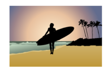 silhouette,girl,woman,shadow,sea,ocean,beach,sunset,sand,horizon,skyline,wave,palm tree,wave,palm tree
