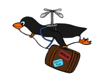 penguin,bird,cartoon,tux,fly,suitcase,migrate,migration,berlin,south pole,travel,propeller,bow tie,holiday,migratory,berlin,south pole