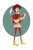 troubadour,male,cartoon,medieval,lute,music,musician,instrument,sing,singer,song