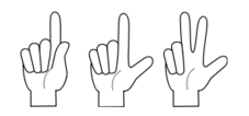 count,sign,hand,line art,finger,one,two,three,first,second,third