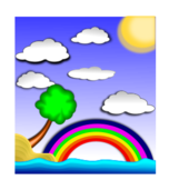 icon,landscape,rainbow,water,beach,cloud,clip art,inky2010,inkscape,2010,free,clip,cloud