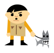 man,dog,cute,cartoon,cartoony,character,character design,sad,bad,mad,angry,leash,character