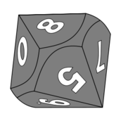 red 10 sided die vector