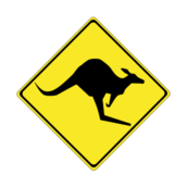 roadsign,traffic,warning,kangaroo,australia