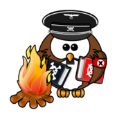 owl,cartoon,bird,funny,animal,babelplatz,banned,book,1933,fire,burning