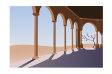 arch,archway,arc,air,landscape,desert,building,hacienda,vector,clipart