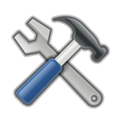 hammer,spanner,tool,hardware,work,config,setting,develop,build,icon,logo,contour,glossy,shiny,colour