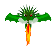 creature,fantasy,dragon,green,fire,wing,cartoon,no contour