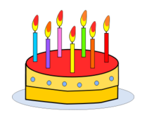 media,clip art,public domain,image,png,svg,food,cartoon,cake,birthday,candle,party,red,yellow,contour